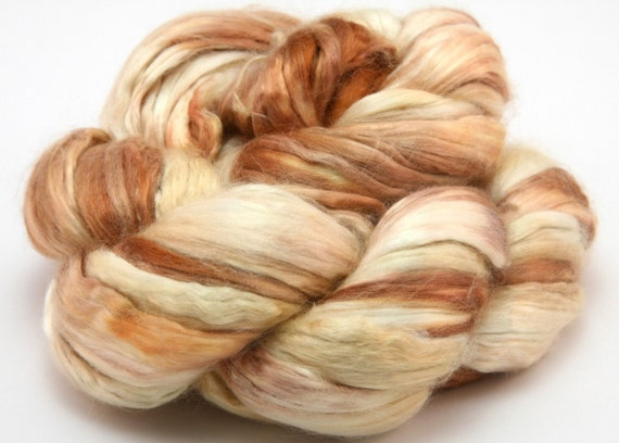 Mulberry Silk Top - Hand-Dyed Spinning Fiber - EARTHY ERIN - 2.25oz