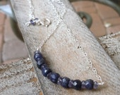 Blue Stone Necklace Iolite Sapphire Sterling Silver Blue Bar of faceted indigo gemstones September birthstone