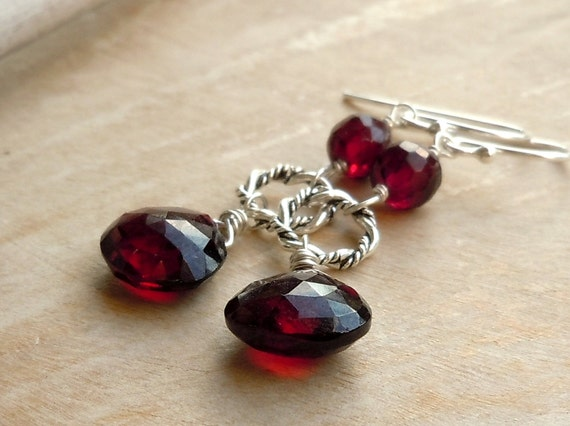 Garnet Earrings with twisted circles Sterling Silver Deep Red Gemstone January birthstone