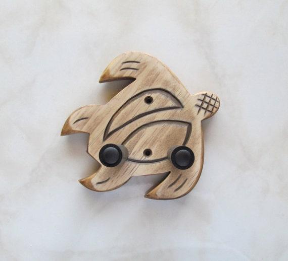 Ukulele wall mount hanger, hand carved honu, brown