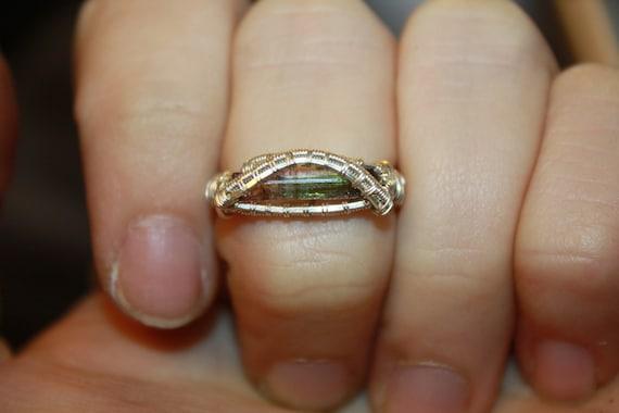 Watermelon Tourmaline Argentium Silver Ring Size 7