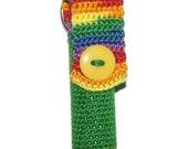 Lip Balm Holder Rainbow Green Crochet