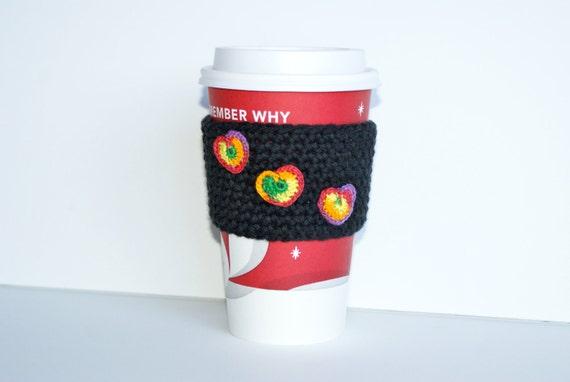Coffee Cozy Sleeve Crochet Rainbow Hearts