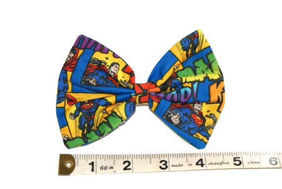 Comic Book Superman 4 inch Hair Bow