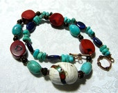 Nepalese Bead Necklace Red Coral Morenci Turquoise