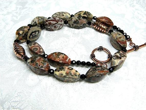Leopardskin Jasper Bali Copper Necklace