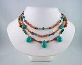 Turquoise Oregon Sunstone Copper 3 Strand Necklace