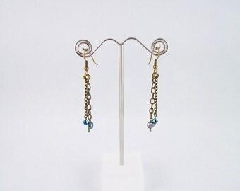 Tahitian Pearls, Navy Swarovski Crystal & Brass Earrings