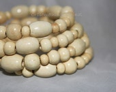 SALE Ivory Wooden beaded cuff bracelet on memory wire Was 13.00 Now 8.00