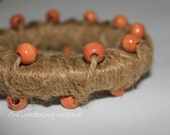 Natural Jute with Oak beads Handmade Resin Bangle Bracelet Boho Chic Chunky Wooden Beeds OOAK Statement Jewelry Hippie Chic