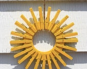 Wooden Clothespin Sunshine wreath bright yellow beach decor shabby chic door Featured in Etsy's Dress Your Door:The Modern Wreath Video