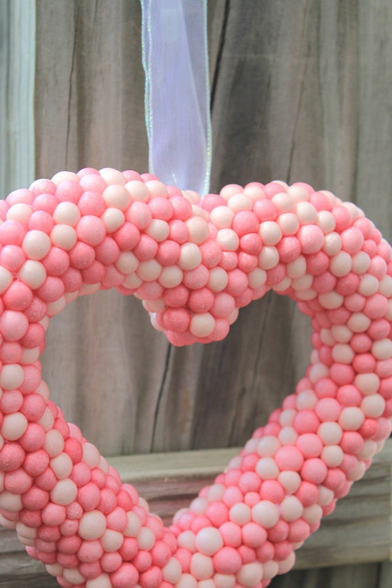 Pastel Pink Heart Wall Hanging /Door Decor Large Ornament Wedding Wreath Love Shabby Chic Home Decor