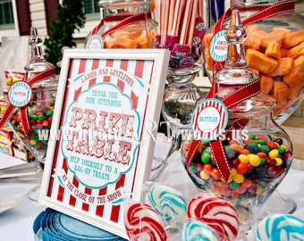 Carnival Collection. Prize Table Sign. DIY.  Digital Download File. Pinkadot Shop