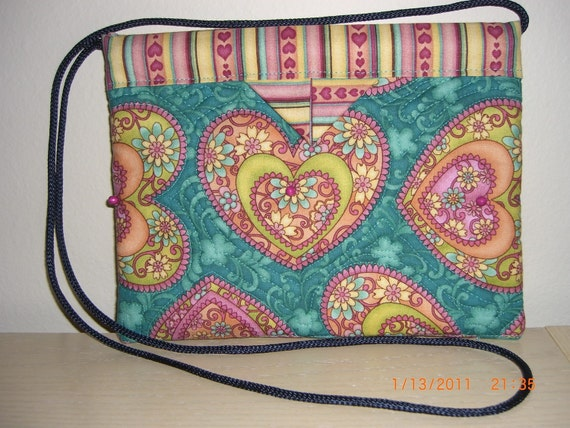 Sweetheart Quilted Fabric Snap Bag Purse