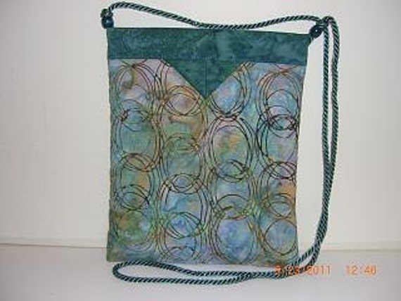 Teal Print Batik Quilted Fabric Snap Bag/Purse
