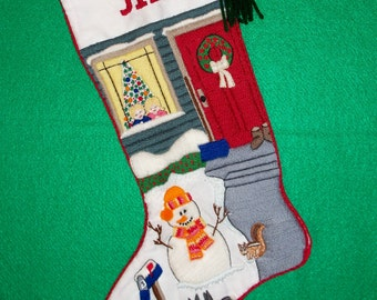 Left Facing Snowman Embroidery Kit - Christmas Stocking Crewel Needlework Crafting Kit with Woodland Creatures