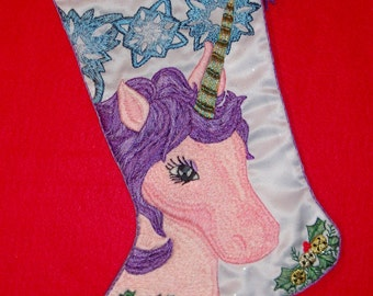 Left Facing Fantasy Christmas Stocking Embroidery Kit - LIMITED EDITION - Snowflakes & Unicorns