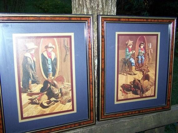 Sale Vintage Little Cowboy Framed Wall Art By Roseygvintage