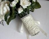 Lace bridal bouquet wrap corset style ivory