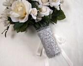 Corset style lace bouquet wrap silver