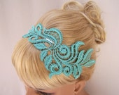 Delphinium lace headband mint green