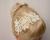 Hibiscus lace headband ivory