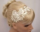 Orchid  lace headband ivory