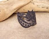 Freesia lace bracelet charcoal grey