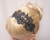 Phalenopsis lace headband charcoal grey with crystals