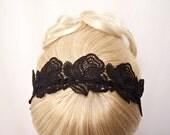 Roses lace headband black