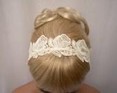 Roses lace headband ivory