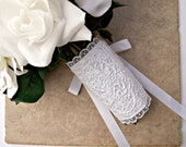 Lace bridal bouquet wrap corset style white