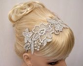 Hibiscus lace headband silver