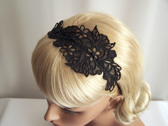 Lily lace headband black