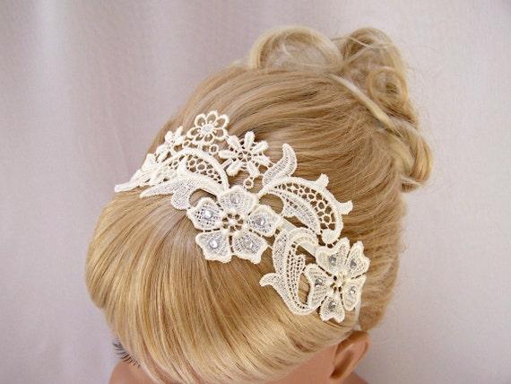 Phalenopsis ivory lace crystal headband