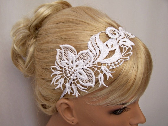 Orchid lace headband white
