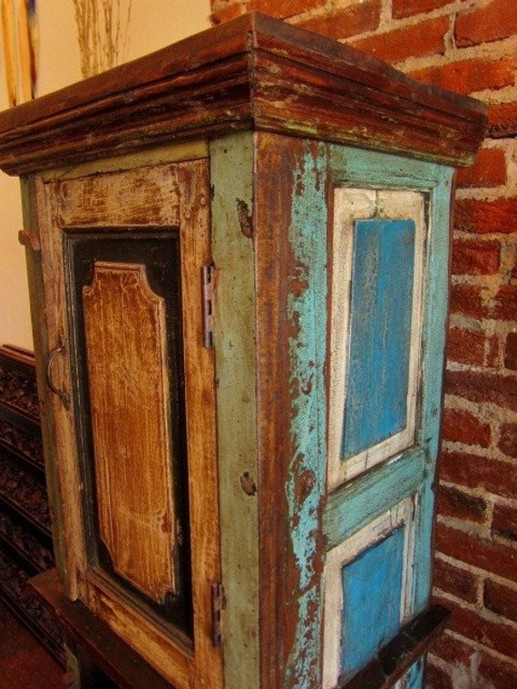 Blue cream upcycled cabinet for Upcycled kitchen cabinets