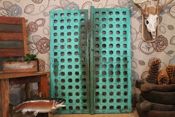 Indian Antique Teal Window Shutters