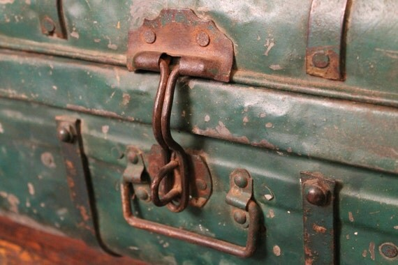 Green Vintage Metal Trunk-Reserved for Tracy