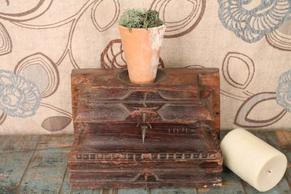 FREE SHIPPING Dark Brown Table Top Rustic Upcycled Architectural Elements Candle Stand