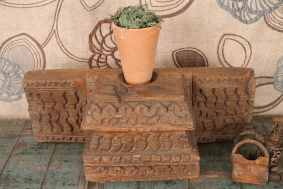 FREE SHIPPING Carved Wood Indian Architectural Element Candle Stand