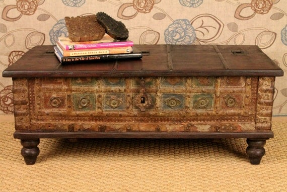 Items Similar To Repurposed Antique Trunk Coffee Table Reserved For Eliza On Etsy