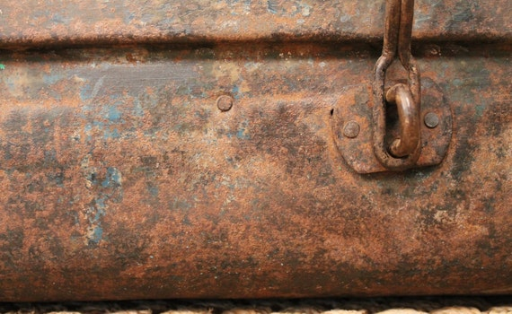 Rusted Antique Metal Suitcase-Reserved for Christina