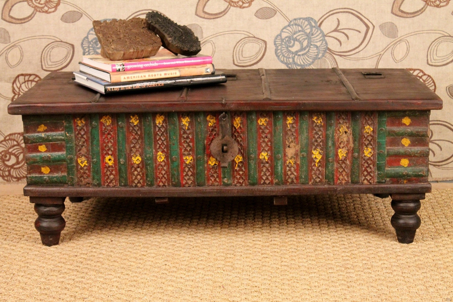 Reserved for jane reclaimed wood coffee table storage trunk Indian trunk coffee table