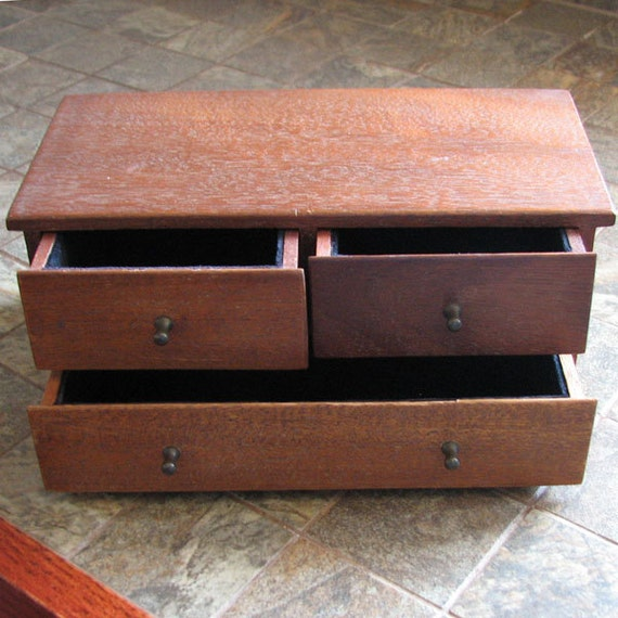 Vintage jewelry three drawer dresser box desk organizer - Desk organizer drawers ...