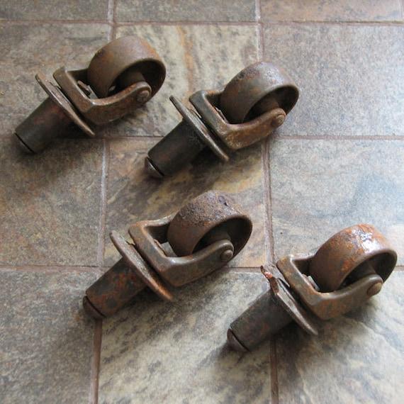 Vintage Metal Caster Wheels Rust Corrosion Set of 4
