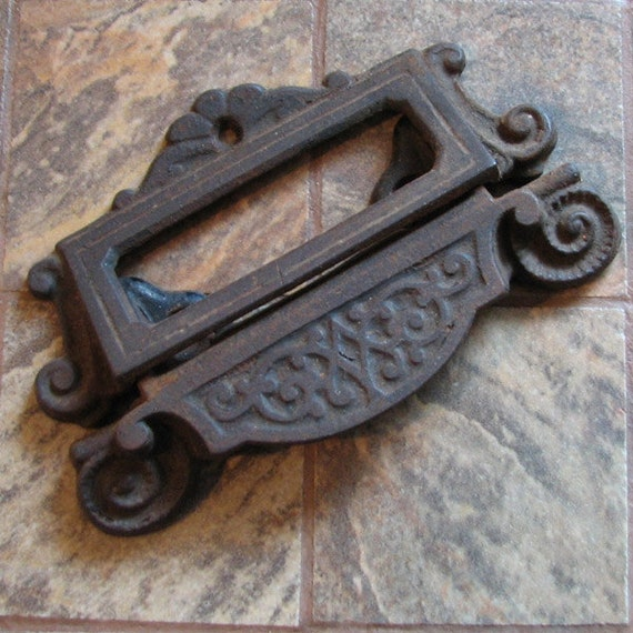 Vintage Drawer Pull Handle Label Holder 2 Part Cast Iron