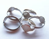 40 Adjustable Silver Ring Blanks with 10mm glue pad