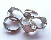 20 Adjustable Ring Blanks Silver