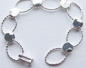 5 Silver Plated Hammered Oval Bracelet Forms for Crafting and Embellishing 7.25 inches